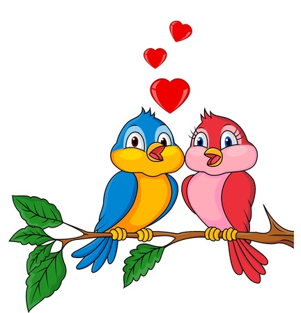 flowers cartoon: Bird couple in love Illustration