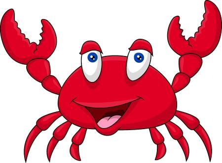 cangrejo caricatura: Dibujos animados cangrejo divertido Vectores