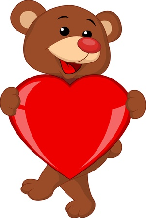 Bear with love heart Stock Vector - 17473758