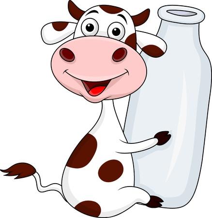 cow farm: Bottiglia per il latte di mucca che tiene Vettoriali