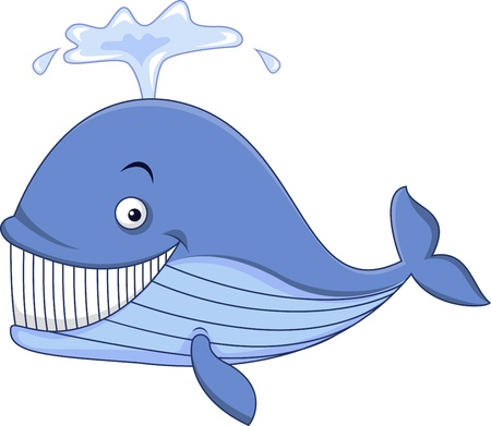 whale underwater: Blue whale cartoon
