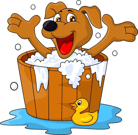 Dog bathing time Vector