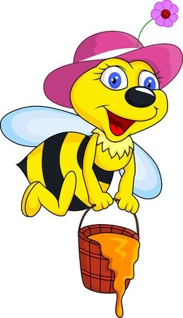 Bee with honey bucket Vector