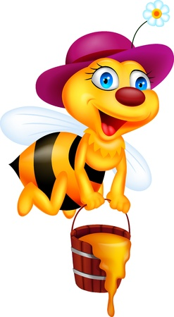 honey bees: Funny bee with honey bucket