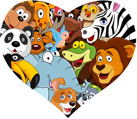 Animal with heart shape Vector