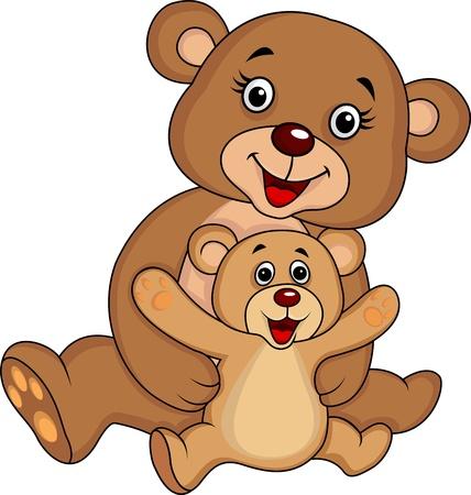oso blanco: Madre y bebé oso de dibujos animados