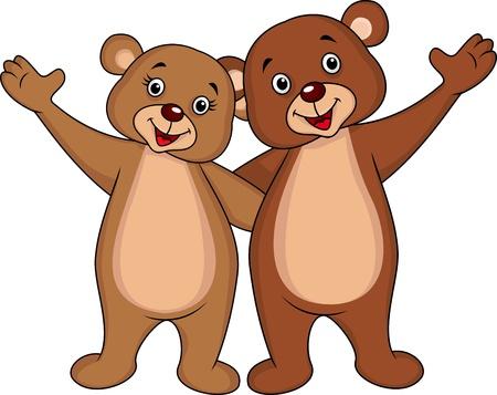 cartoon b�r: B�renpaar Hand winken