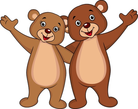 teddy bear cartoon: Bear couple hand waving