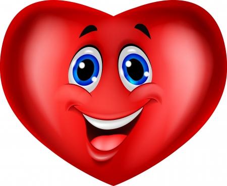 smiley content: Mignon sourire symbole du coeur Illustration