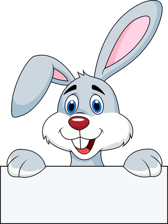 Rabbit with blank sign Stock Vector - 17696984