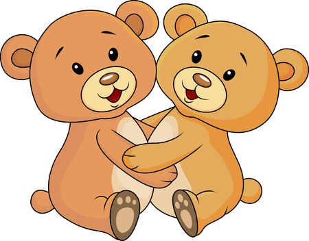 Cute bear embrace each other