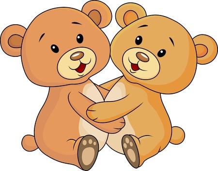Schattige beer omhelzen elkaar