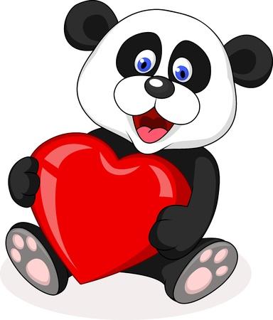 chubby cartoon: Panda bear with love heart