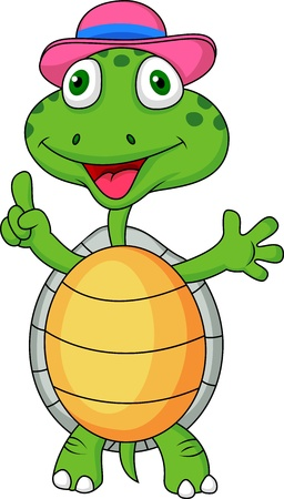 Cute turtle with thumb up Vector