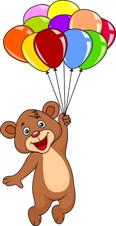 one animal: Cute teddy bear with balloons on white background