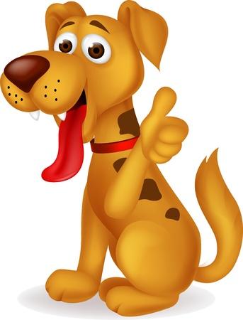 perros graciosos: Perro con el pulgar hacia arriba Vectores