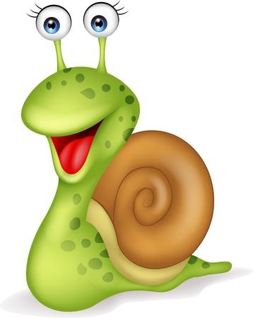 schattige dieren cartoon: Lachend slak cartoon