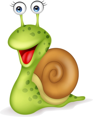 Smiling snail cartoon  Çizim