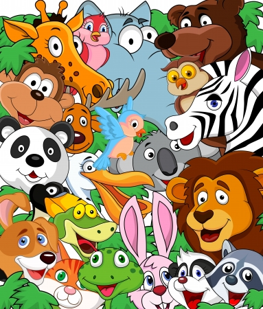 Animal cartoon background  Vector