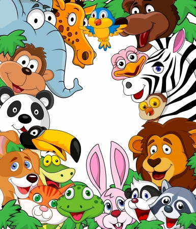 cartoon rabbit: Animal cartoon background  Illustration