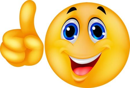 cara sonriente: Emoticon haciendo un punto