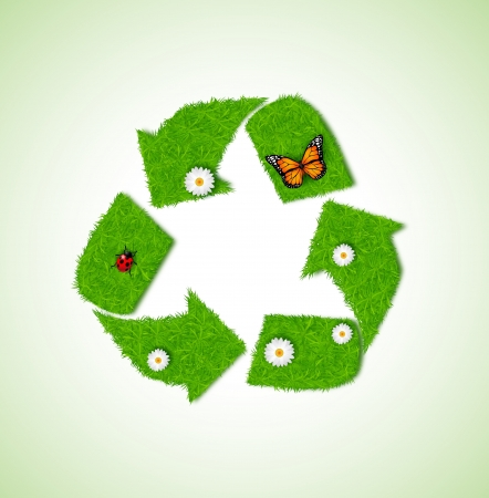 Recycle icon from grass background Stock Vector - 18047104