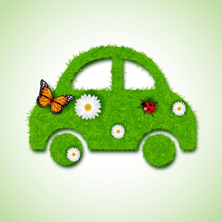 oil change: Car icon from grass background