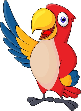 Macaw bird cartoon waving