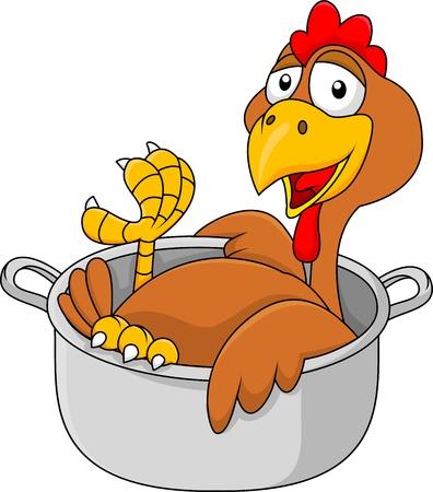 pollo caricatura: Pollo de dibujos animados en la olla