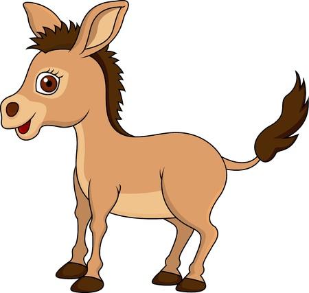 插圖可愛的卡通驢 向量圖像