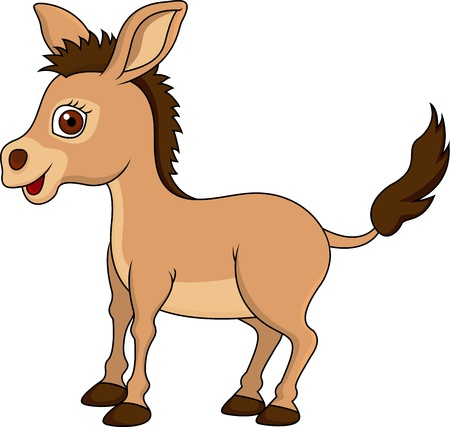 illustration of cute donkey cartoon