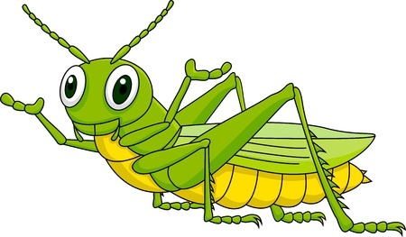 szarańcza: Ilustracja cute cartoon konik polny