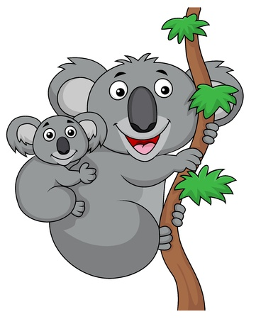 Mother and baby koala cartoon Vector