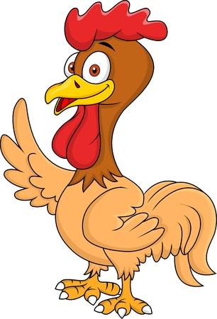 chicken nest: Rooster cartoon waving