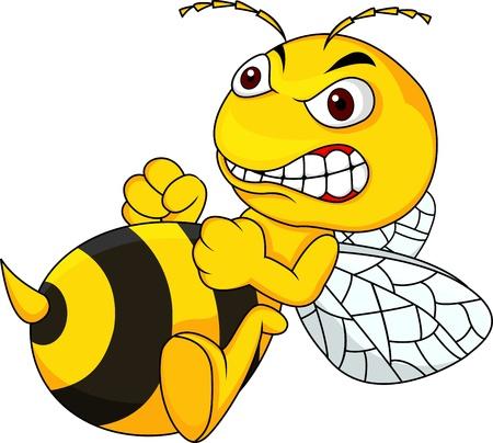 avispa: Caricatura abeja enojada Vectores