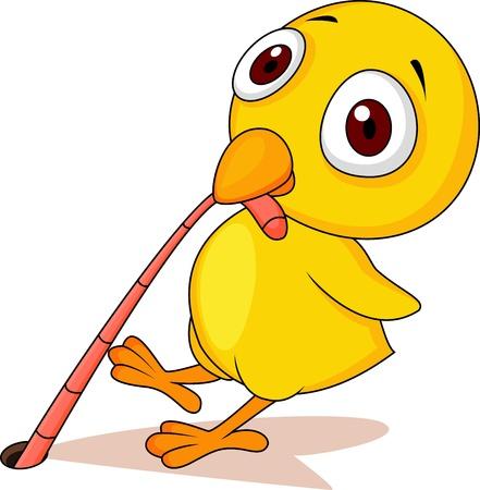 gusano caricatura: Bebé de pollo con dibujos animados gusano Vectores