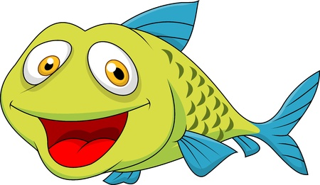 cartoon fishing: Cute fish cartoon