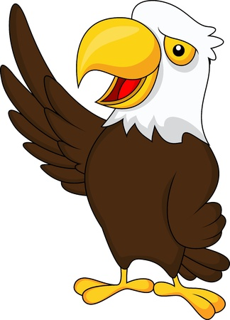 big smile: Eagle cartoon waving