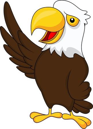 eagle feather eagle claw: Eagle cartoon waving