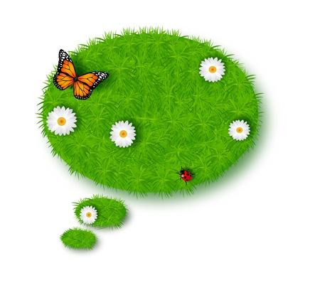 Bubble for speech made of green grass