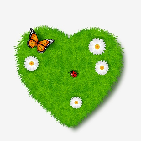 Love icon from grass background Vector