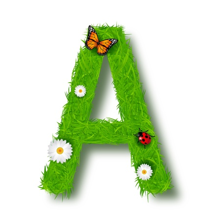 uppercase: Grass Letter A on white background