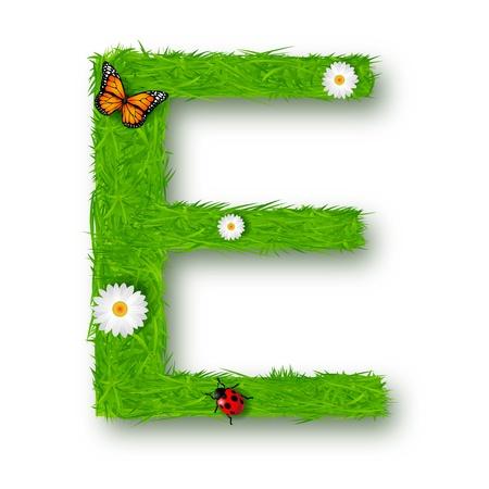 flower alphabet: Grass Letter E on white background