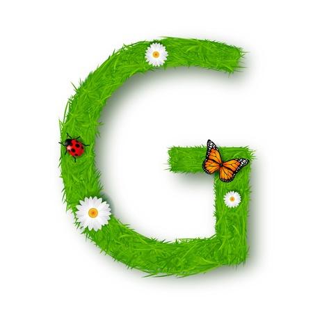 grass font: Grass Letter G on white background Illustration