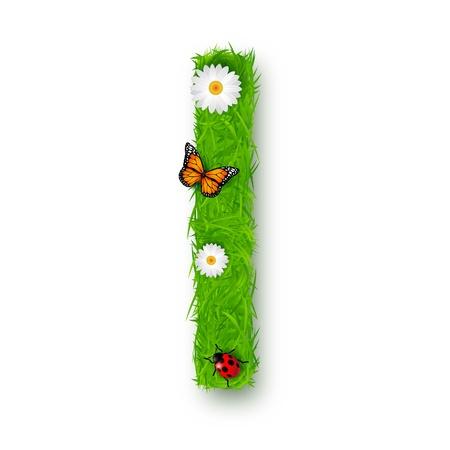 Grass Letter I on white background Stock Vector - 18276451