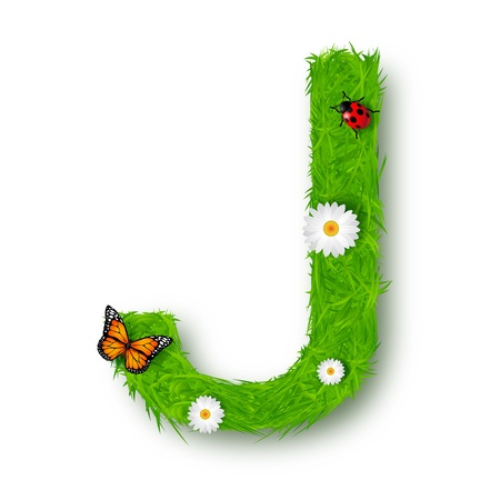 Grass Letter J on white background Vector