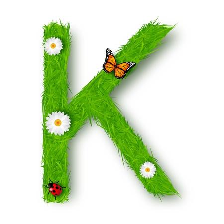Grass Letter K on white background Vector