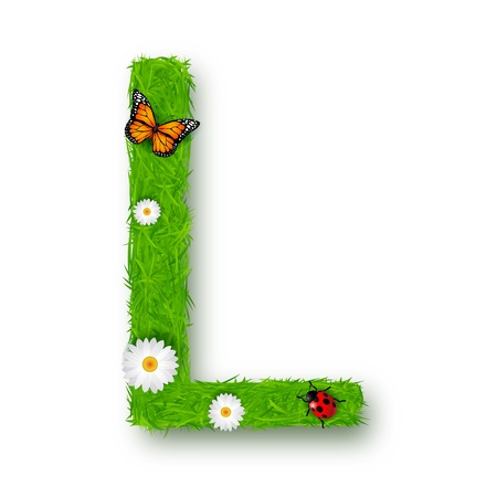 Grass Letter L on white background Vector