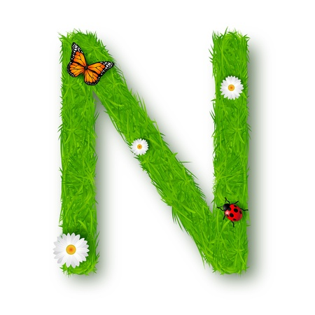 butterfly ladybird: Grass Letter N on white background Illustration