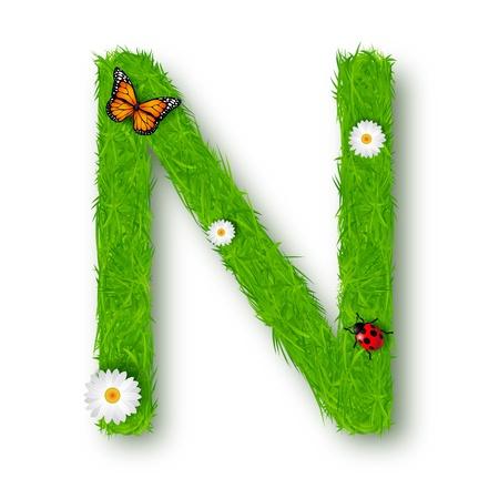 tipos de letras: Hierba Letra N en fondo blanco